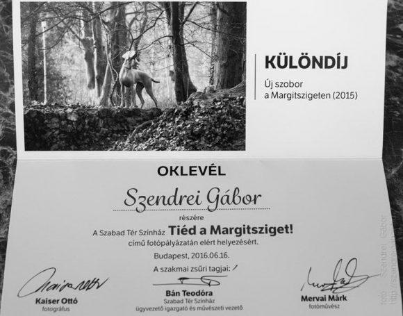 Tiéd a Margitsziget különdíj oklevél Szendrei Gábor